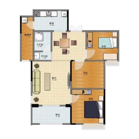 寰宇世家3室2厅1卫2厨81.00㎡户型图