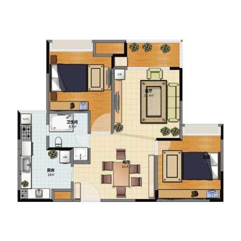 半山一号1室2厅1卫1厨75.10㎡户型图