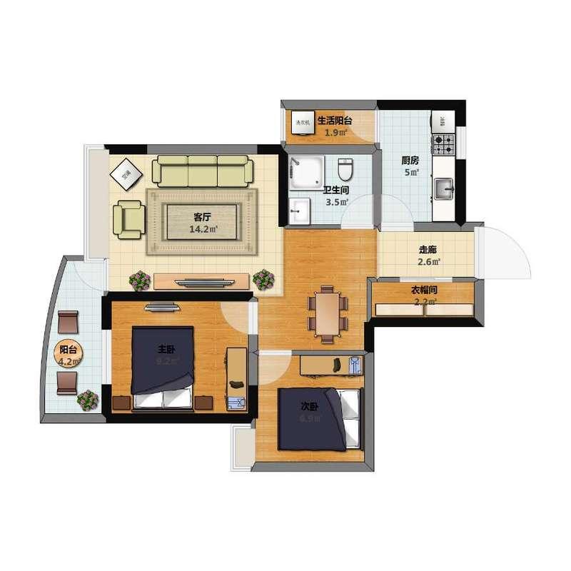 浅水半岛三期J2户型78.75平米(2室2厅1卫1厨)