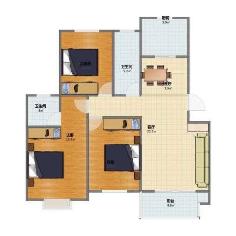 运河人家3室2厅1卫2厨86.00㎡户型图