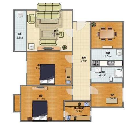 国际风情3室1厅1卫1厨103.00㎡户型图