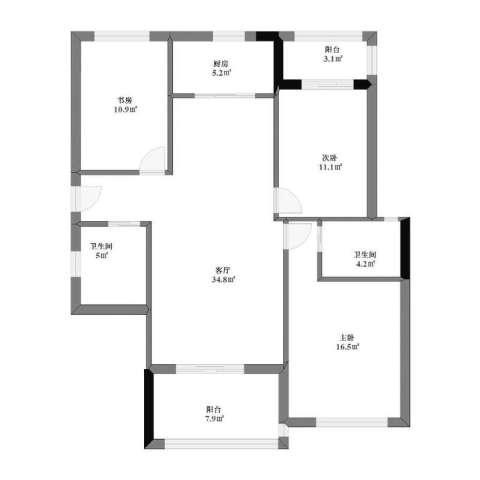 宏宇・龙湖湾3室1厅1卫2厨99.00㎡户型图