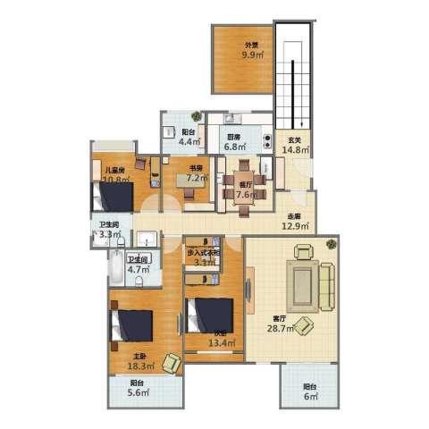 泰时・三湘金地4室2厅1卫2厨159.00㎡户型图