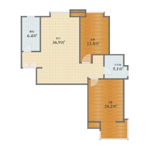 融锦・尚都2室1厅1卫1厨83.00㎡户型图