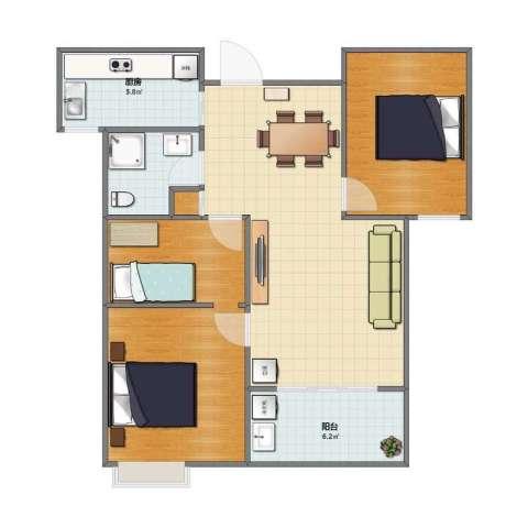 万裕龙庭水岸别墅1室1厅1卫1厨71.00㎡户型图
