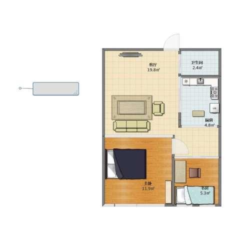 奕人花园2室1厅1卫1厨44.20㎡户型图