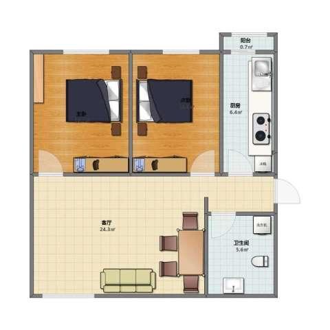风雅园三区2室1厅1卫1厨60.10㎡户型图