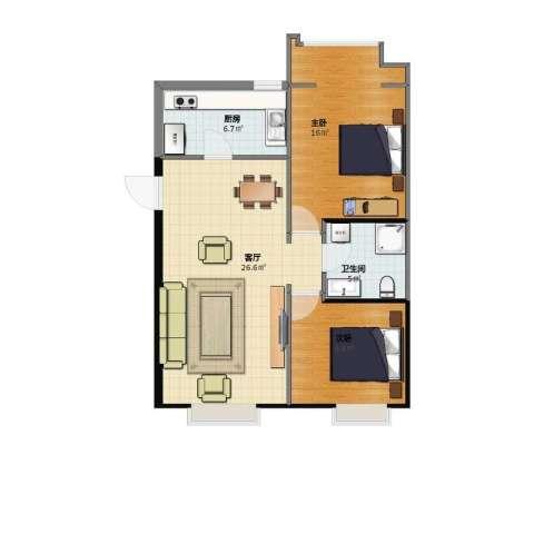 亿城通山水庭院2室1厅1卫1厨64.00㎡户型图