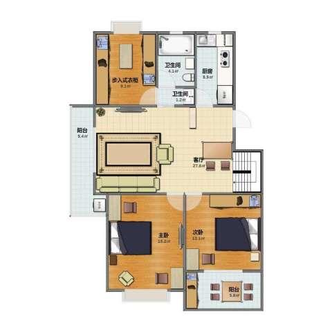和园2室1厅1卫2厨86.40㎡户型图