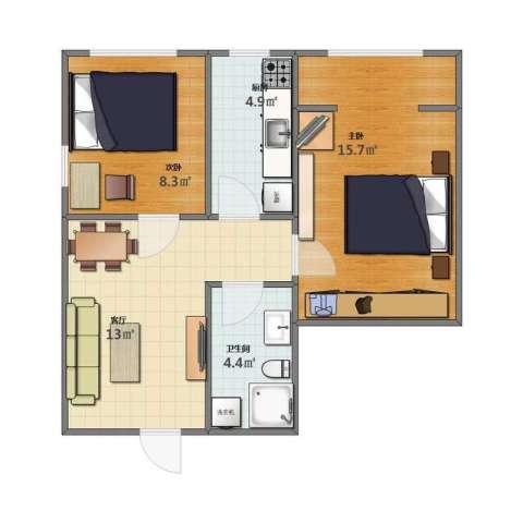 格林馨港湾2室1厅1卫1厨46.10㎡户型图