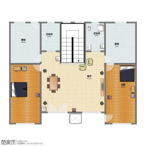 吕家营住宅小区2室1厅2卫2厨198.30㎡户型图