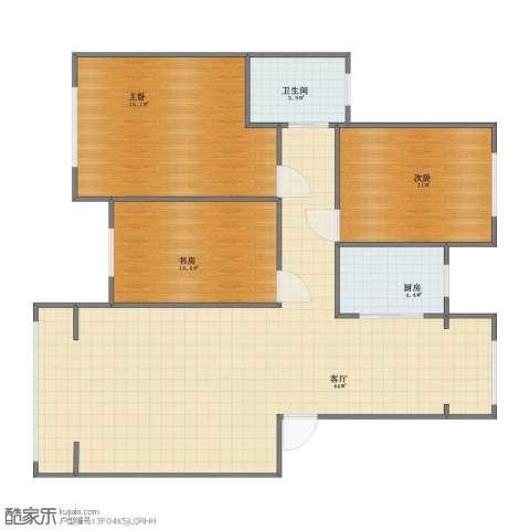 锦绣澜湾3室1厅1卫1厨90.00㎡户型图