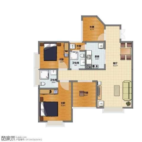 花园大厦3室1厅1卫2厨79.00㎡户型图