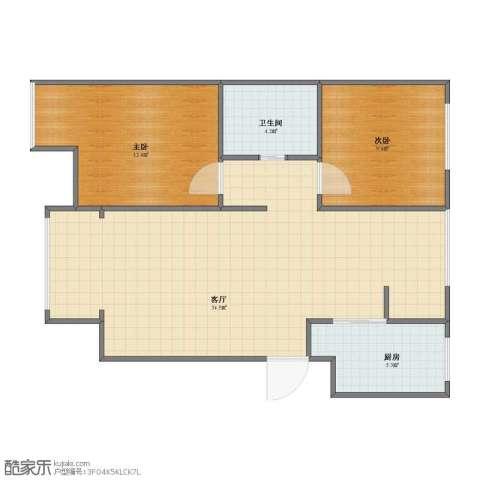 滨才城2室1厅1卫1厨66.00㎡户型图