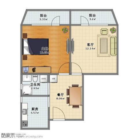 和平西苑小区1室2厅1卫1厨47.00㎡户型图