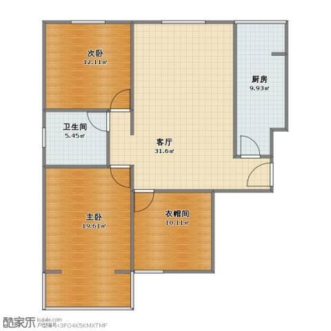 水岸丽城2室1厅1卫1厨89.00㎡户型图