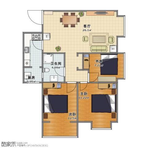 高山流水和城3室1厅1卫1厨67.00㎡户型图