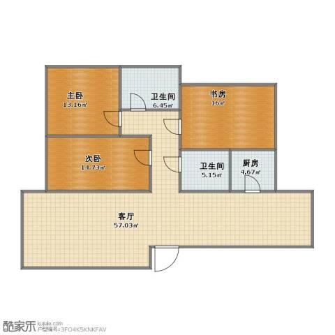 盛达园景水映云顶3室1厅1卫2厨117.10㎡户型图