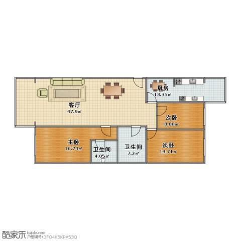 西门外大街16号院3室1厅1卫2厨112.00㎡户型图