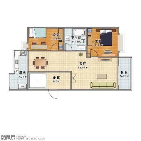 和顺中央花城2室1厅1卫1厨82.50㎡户型图