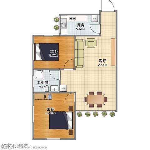 珠殿苑2室1厅1卫1厨60.40㎡户型图