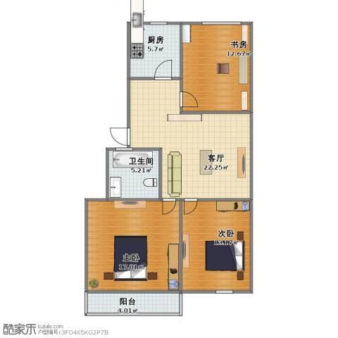 蟠桃花园3室1厅1卫1厨81.00㎡户型图