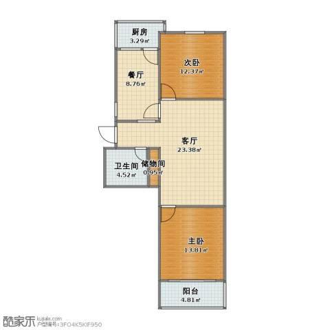 杆石桥公安局宿舍2室2厅1卫1厨72.00㎡户型图