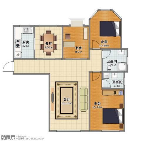 华北城S1主题酒店公寓3室2厅1卫2厨93.20㎡户型图