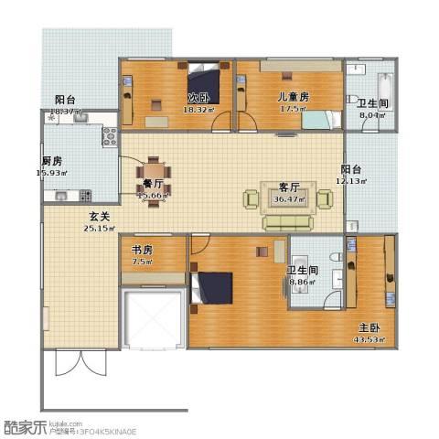仁文大儒世家绿园4室2厅1卫2厨227.40㎡户型图