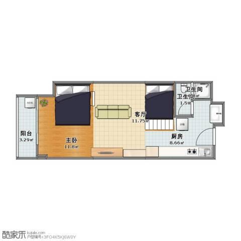 协和世界酒店公寓1室1厅1卫2厨42.00㎡户型图
