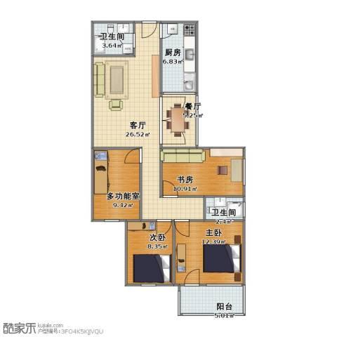 农展南里3室2厅1卫2厨91.00㎡户型图