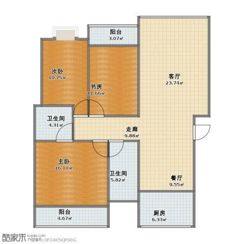 1小区3室2厅1卫2厨106.00㎡户型图