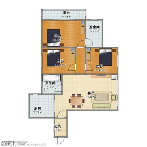 朱家角镇B3、B4地块3室1厅1卫2厨100.10㎡户型图