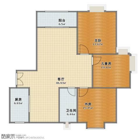 国基城邦别墅3室1厅1卫1厨113.30㎡户型图