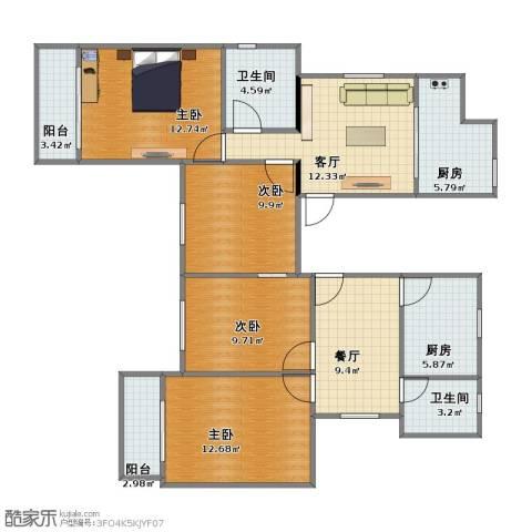 康乐小区(徐汇)4室2厅2卫2厨93.00㎡户型图