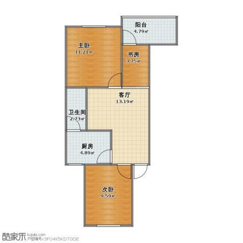 渝北汉渝路小区3室1厅1卫1厨50.10㎡户型图