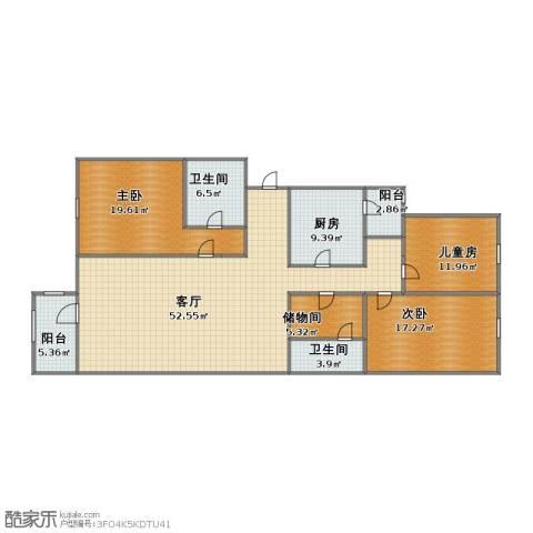 龙跃苑四区3室1厅1卫2厨135.00㎡户型图