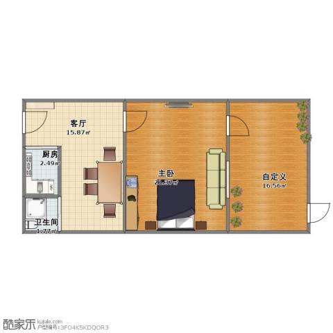 工人新村1室1厅1卫1厨58.00㎡户型图