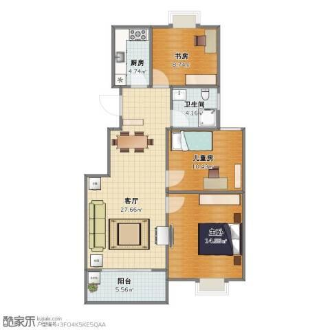 佳家花园3室1厅1卫1厨76.00㎡户型图