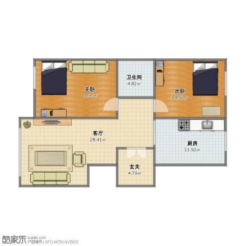 豪邦缇香公馆2室1厅1卫1厨82.20㎡户型图