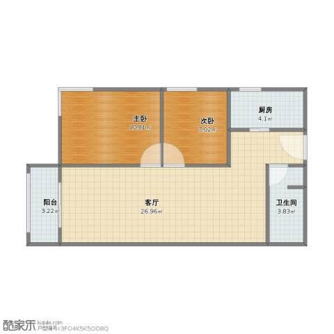 CBD总部公寓三期商业2室1厅1卫1厨56.00㎡户型图