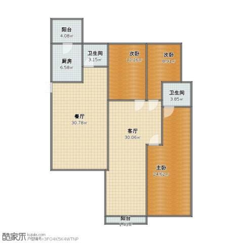 碧桂园别墅3室2厅1卫2厨126.00㎡户型图