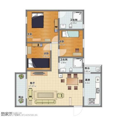 百合花园三期3室1厅1卫2厨49.20㎡户型图