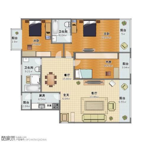 西门外大街16号院3室2厅1卫2厨150.30㎡户型图