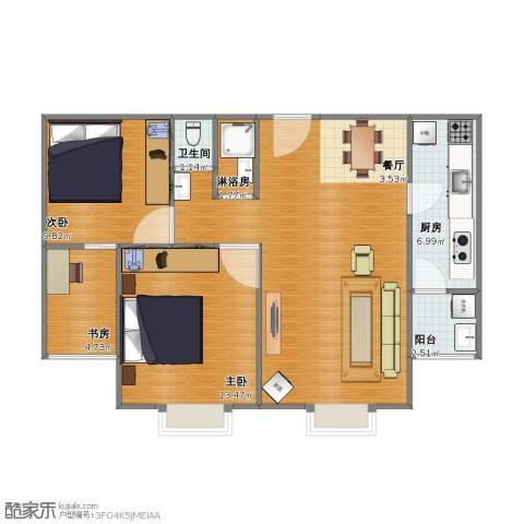 紫金新干线二期3室1厅1卫1厨88.00㎡户型图
