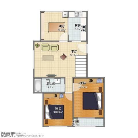 金色领寓2室2厅1卫1厨68.20㎡户型图