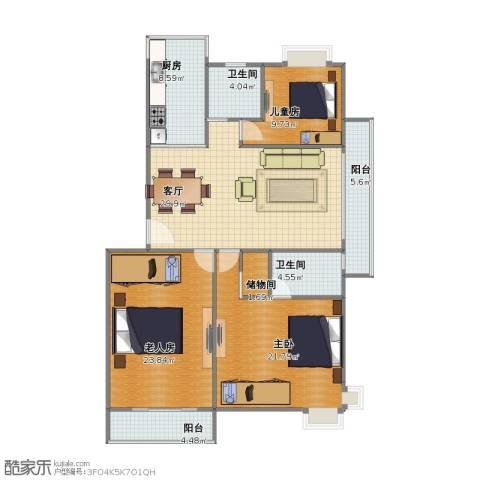 绿地长兴家园3室1厅1卫2厨114.10㎡户型图