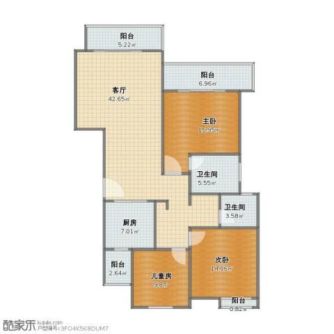 同济路1111弄3室1厅1卫2厨114.20㎡户型图