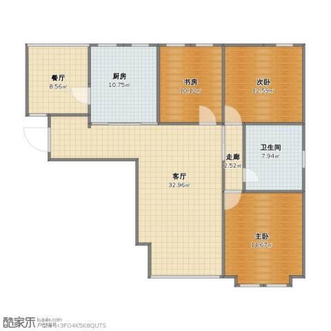 天佐奥城3室2厅1卫1厨100.10㎡户型图