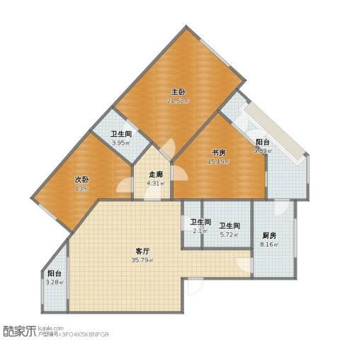 天通苑东一区3室1厅1卫3厨123.00㎡户型图